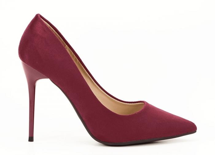 Pantofi bordo eleganti cu toc cui Ayline 0