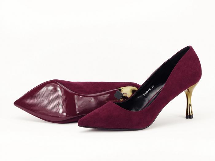 Pantofi eleganti bordo cu toc mediu Victoria 6