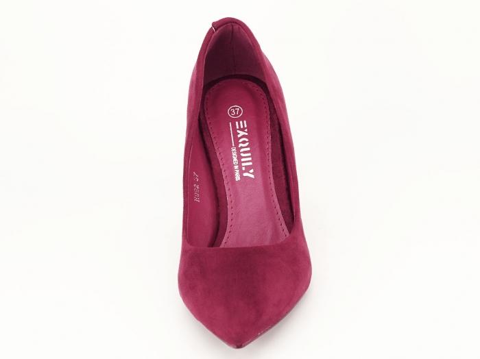 Pantofi bordo din velur cu toc mediu Serenity 5