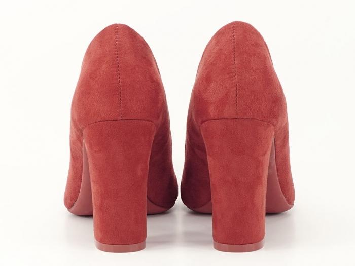 Pantofi caramizii cu toc gros inalt Hilton 3