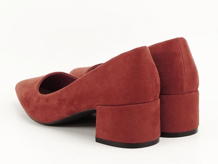 Pantofi caramizii cu toc mic Carla 5