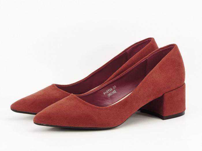 Pantofi caramizii cu toc mic Carla 2