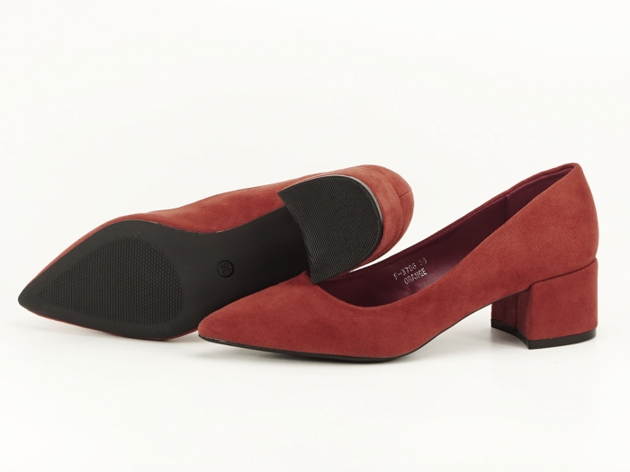 Pantofi caramizii cu toc mic Carla 1