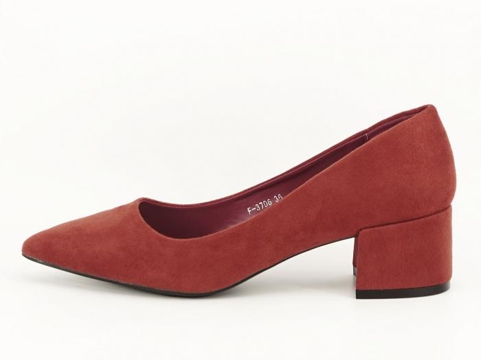 Pantofi caramizii cu toc mic Carla 0