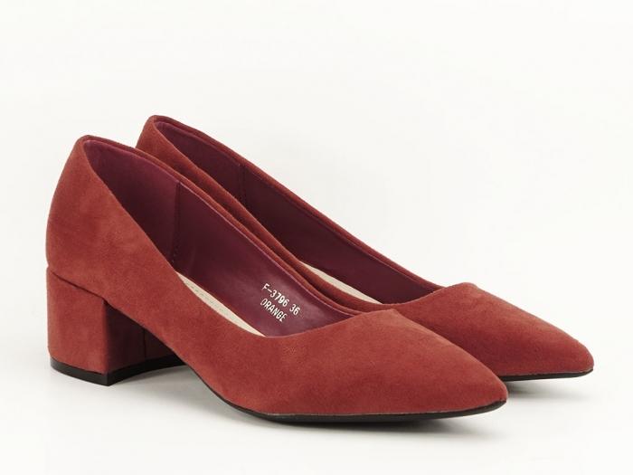 Pantofi caramizii cu toc mic Carla 4