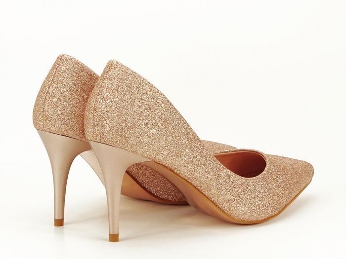 Pantofi champagne eleganti cu toc mediu Claudia 1