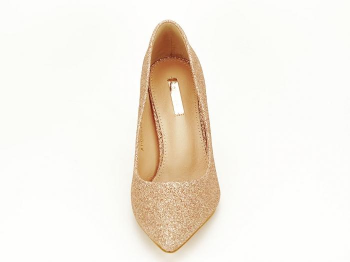 Pantofi champagne eleganti cu toc mediu Claudia 2