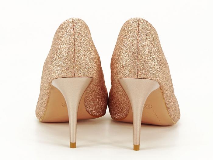 Pantofi champagne eleganti cu toc mediu Claudia 6