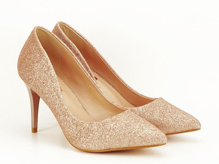 Pantofi champagne eleganti cu toc mediu Claudia 5