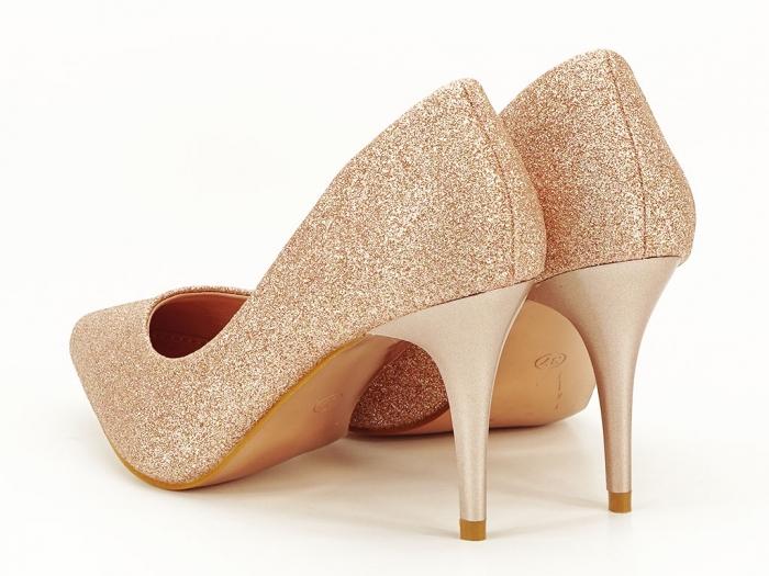 Pantofi champagne eleganti cu toc mediu Claudia 4