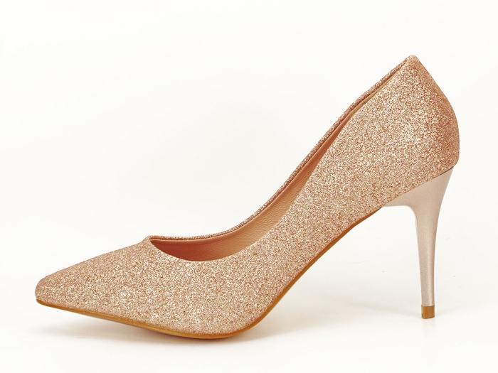 Pantofi champagne eleganti cu toc mediu Claudia 0