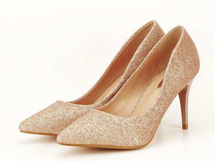 Pantofi champagne eleganti cu toc mediu Claudia 3