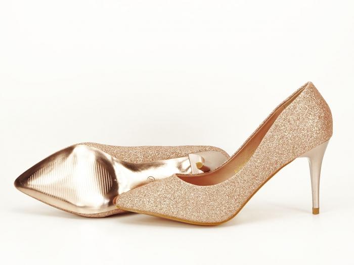 Pantofi champagne eleganti cu toc mediu Claudia 7