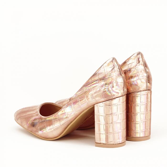 Pantofi champagne cu imprimeu reptila Fancy 6