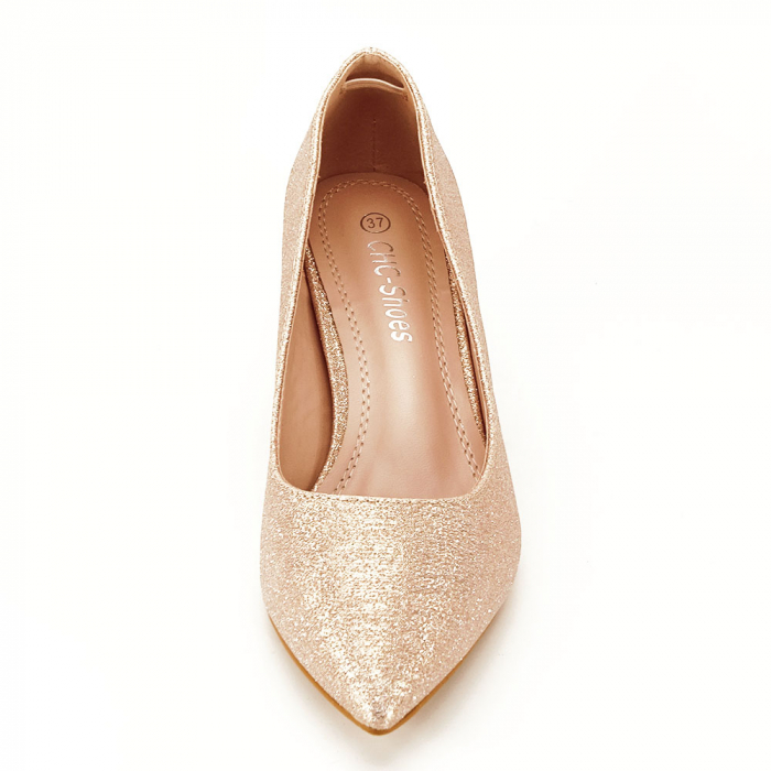 Pantofi champagne cu toc gros Aura 5