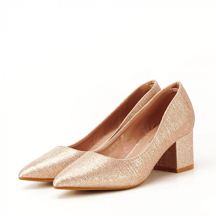 Pantofi champagne cu toc gros Aura 1