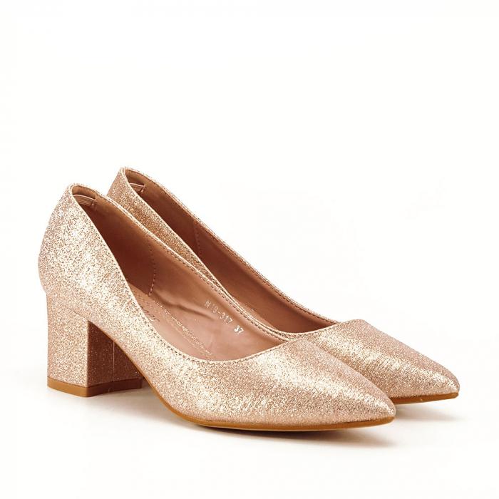 Pantofi champagne cu toc gros Aura 6