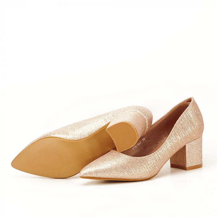 Pantofi champagne cu toc gros Aura 4
