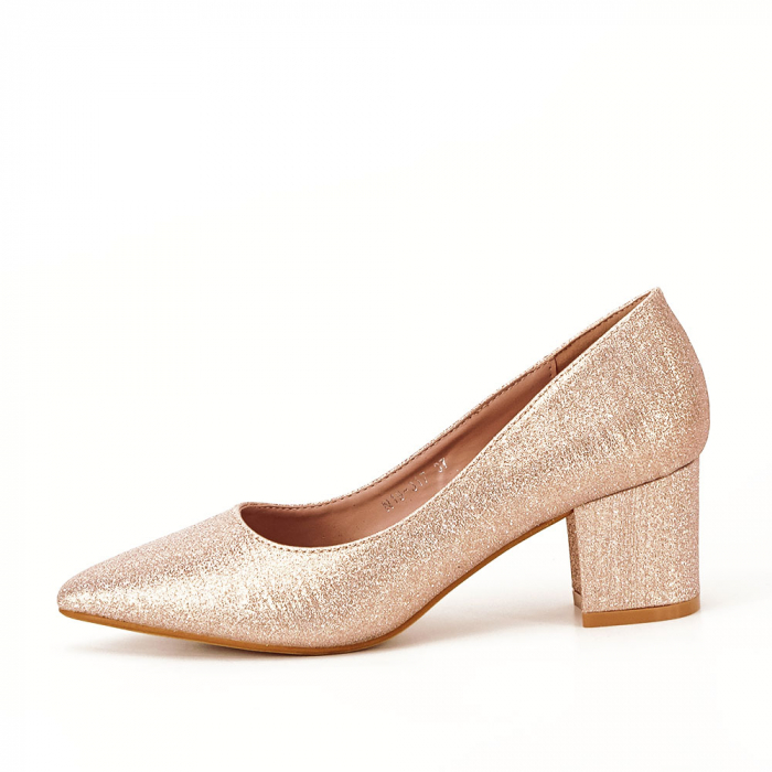 Pantofi champagne cu toc gros Aura 0