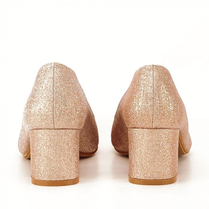 Pantofi champagne cu toc gros Aura 3