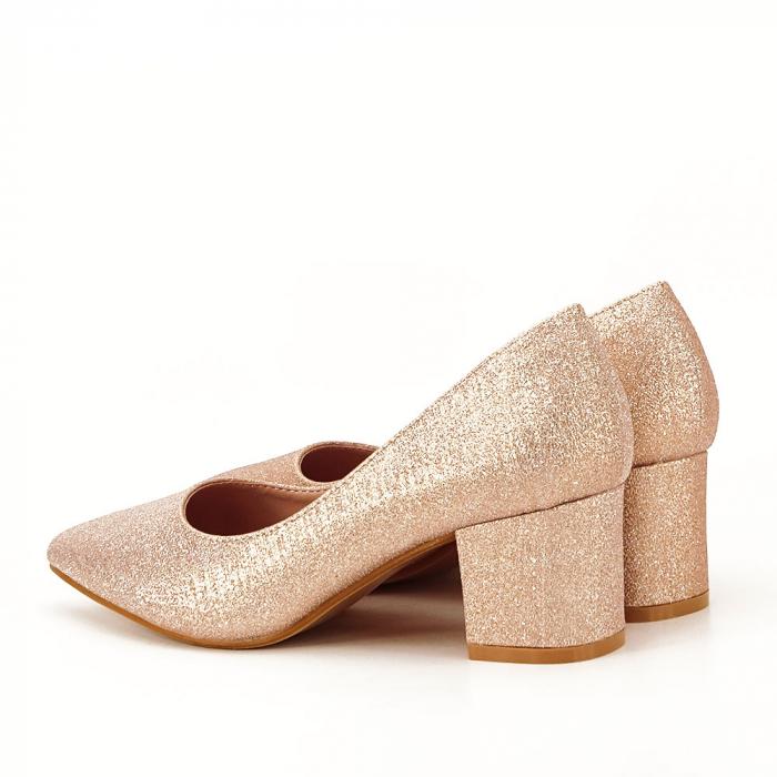 Pantofi champagne cu toc gros Aura 7