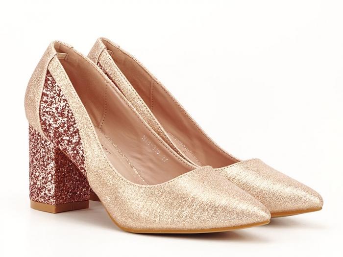 Pantofi champagne eleganti cu toc gros Liana 5