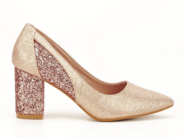 Pantofi champagne eleganti cu toc gros Liana 0