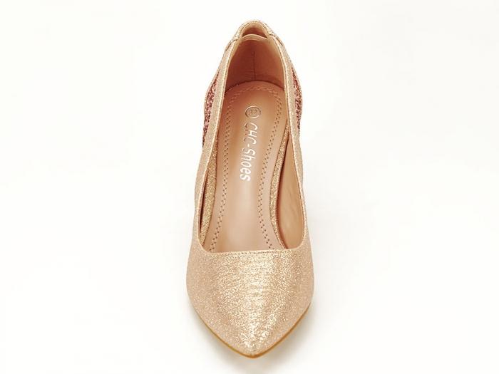 Pantofi champagne eleganti cu toc gros Liana 4