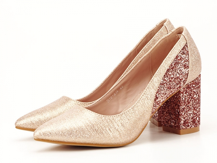 Pantofi champagne eleganti cu toc gros Liana 1