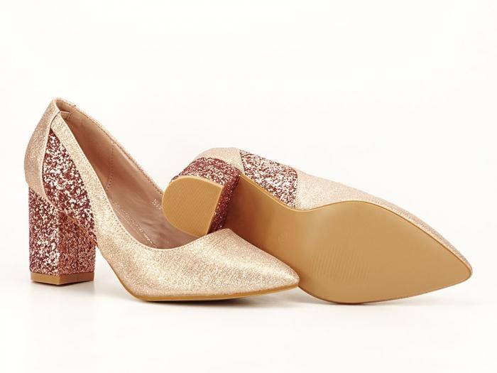 Pantofi champagne eleganti cu toc gros Liana 7