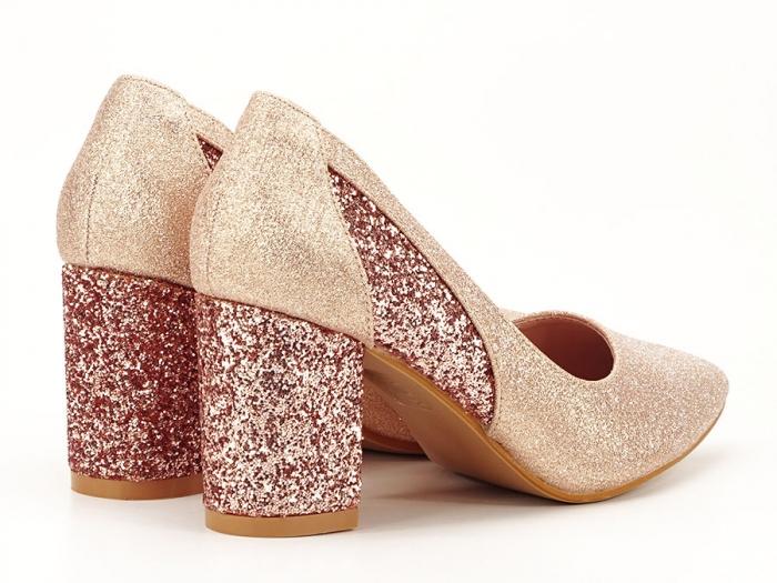 Pantofi champagne eleganti cu toc gros Liana 2