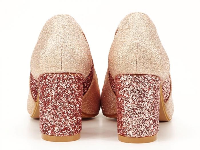 Pantofi champagne eleganti cu toc gros Liana 3
