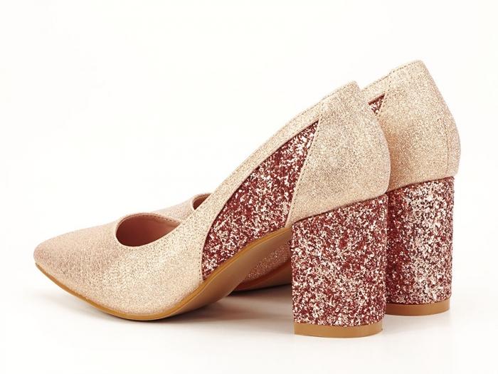 Pantofi champagne eleganti cu toc gros Liana 6