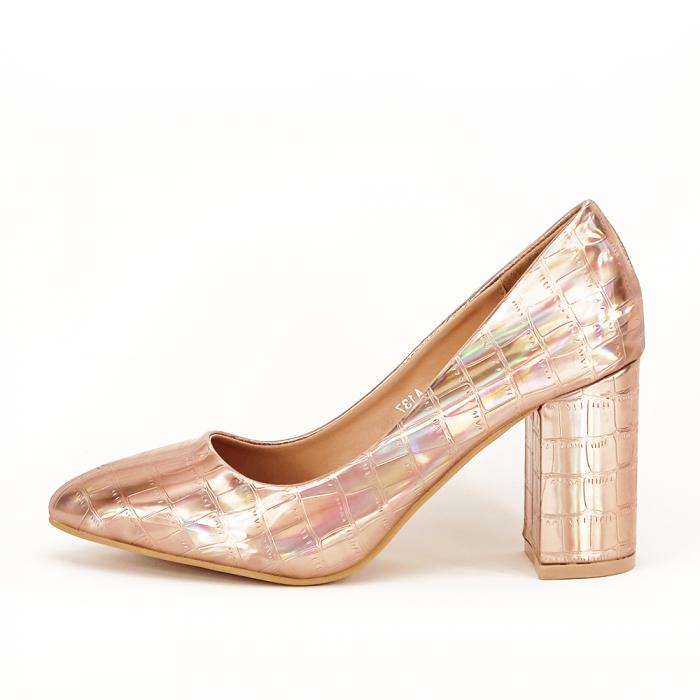 Pantofi champagne cu imprimeu reptila Fancy 0