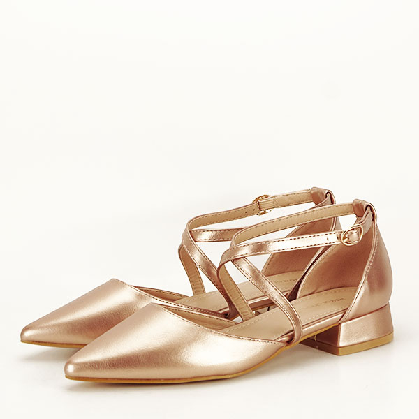 Pantofi argintii cu toc mic Carmen