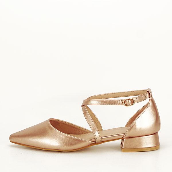 Pantofi champagne cu toc mic Carmen [1]