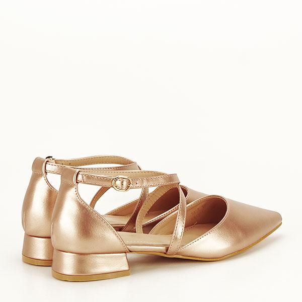 Pantofi champagne cu toc mic Carmen [4]