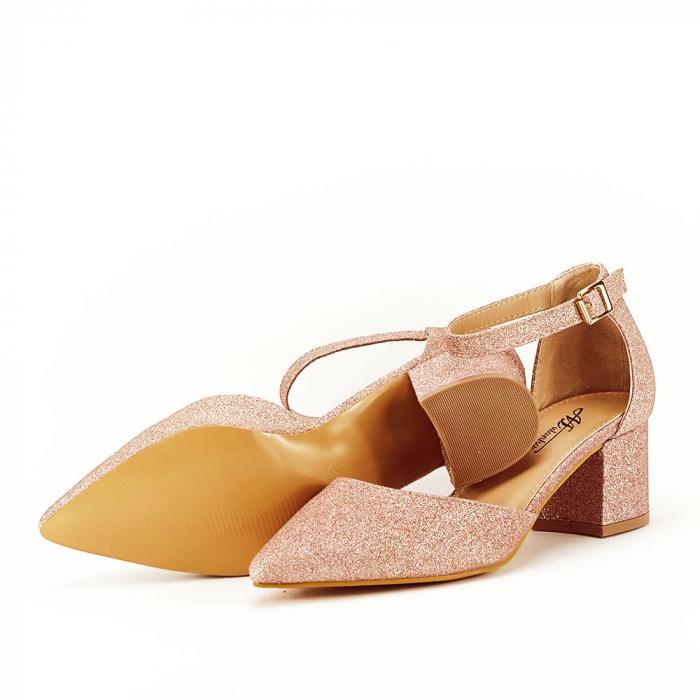 Pantofi champagne cu toc mic Coralia 5