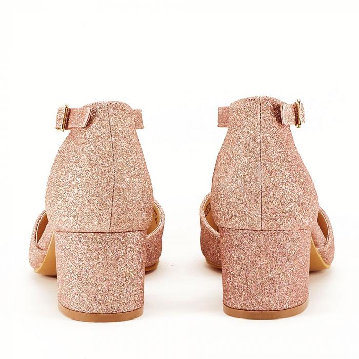 Pantofi champagne cu toc mic Coralia 3