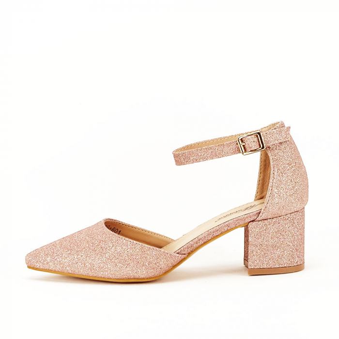 Pantofi champagne cu toc mic Coralia 0