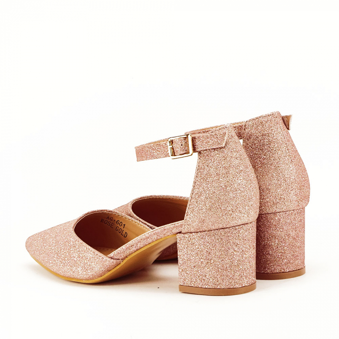 Pantofi champagne cu toc mic Coralia 2