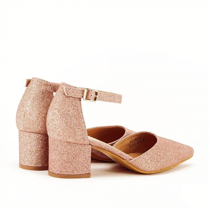 Pantofi champagne cu toc mic Coralia 6