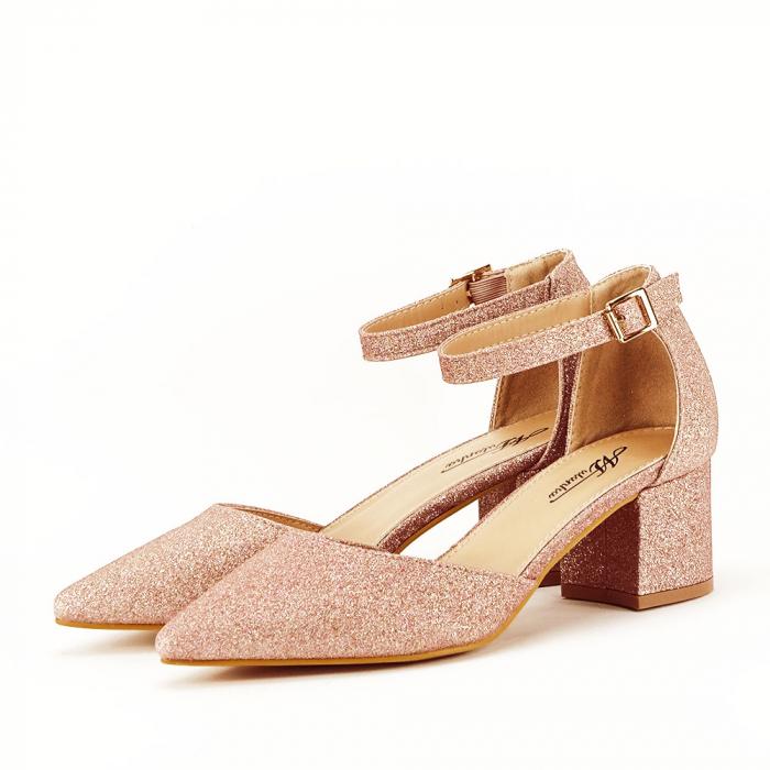 Pantofi champagne cu toc mic Coralia 1