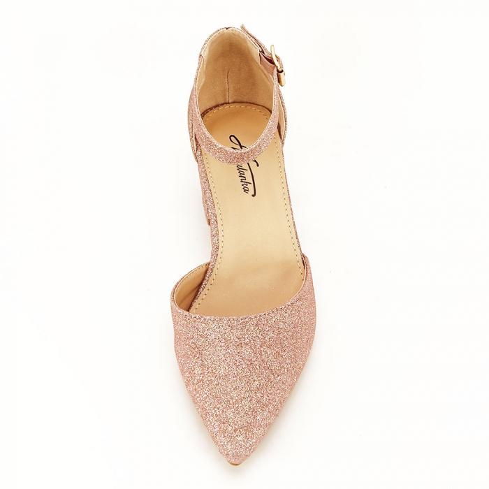 Pantofi champagne cu toc mic Coralia 7