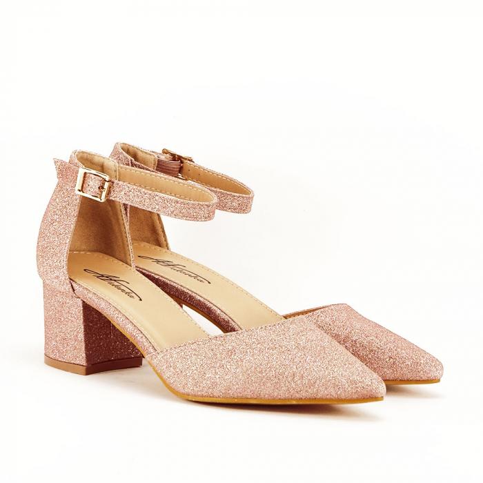Pantofi champagne cu toc mic Coralia 4