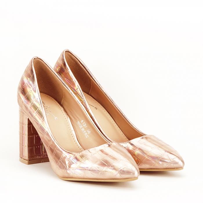Pantofi champagne cu imprimeu reptila Fancy 1