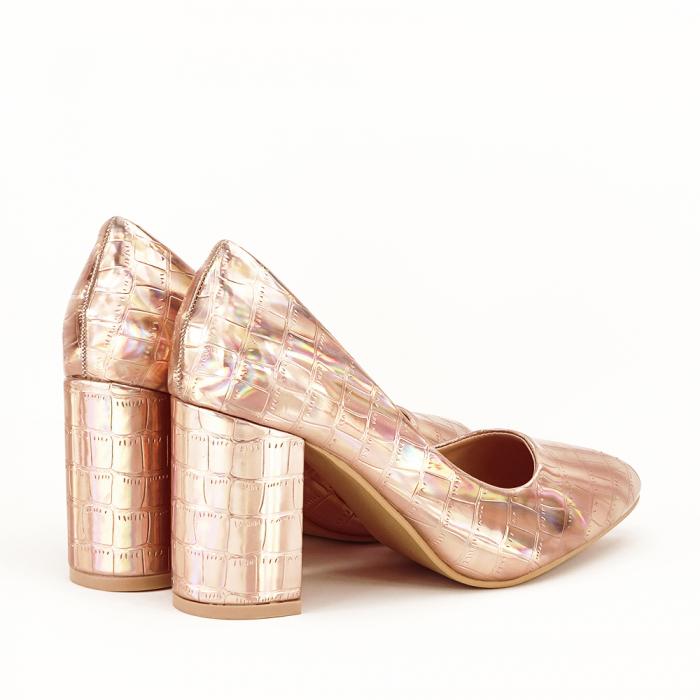 Pantofi champagne cu imprimeu reptila Fancy 2