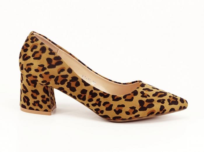 Pantofii dama print leopard cu toc mic si varf ascutit Cristina 0
