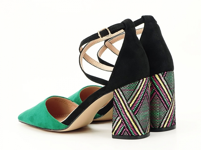 Pantofi decupati lateral cu toc mediu Etnica 2