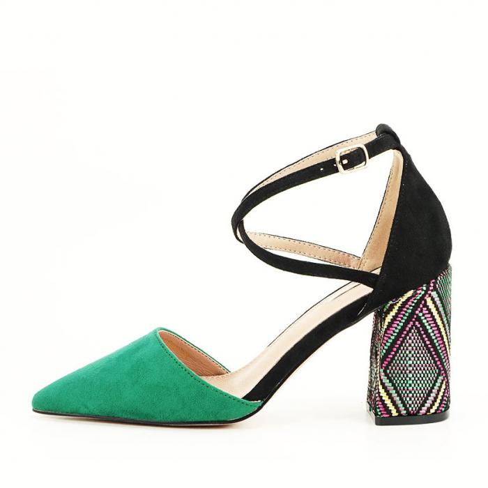 Pantofi decupati lateral cu toc mediu Etnica 0